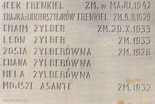 Names of family members on the tables of the monument of the remembrance of the Holocaust